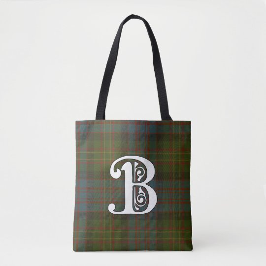 Bowie Clan Tartan Monogram Tote Bag