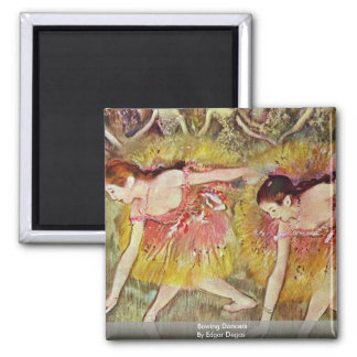 Bowing Dancers By Edgar Degas Square Magnet