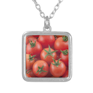Bowl Of Cherry Tomatoes Silver Plated Necklace