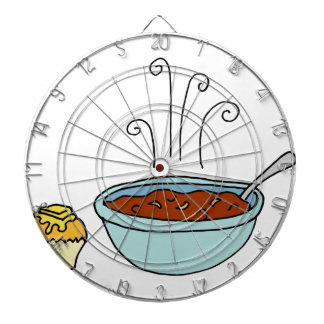 Bowl of chili and cornbread muffin dart boards