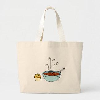 Bowl of chili and cornbread muffin jumbo tote bag