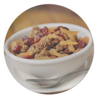 Bowl of granola plate
