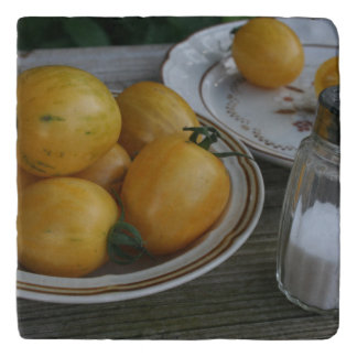 Bowl of Home Grown Yellow Topaz Tomatoes Trivet