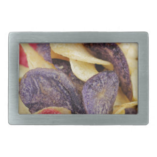 Bowl of Mixed Potato Chips Close-Up Belt Buckle
