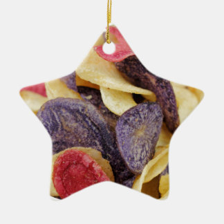 Bowl of Mixed Potato Chips Close-Up Ceramic Star Ornament