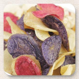 Bowl of Mixed Potato Chips Close-Up Coaster
