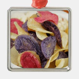 Bowl of Mixed Potato Chips Close-Up Metal Ornament