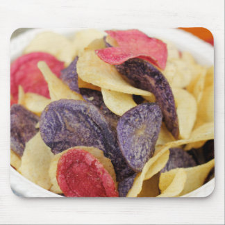 Bowl of Mixed Potato Chips Close-Up Mouse Pad