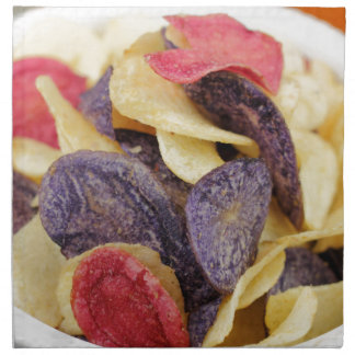 Bowl of Mixed Potato Chips Close-Up Napkin