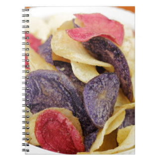 Bowl of Mixed Potato Chips Close-Up Notebook