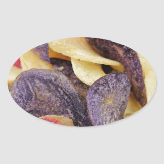 Bowl of Mixed Potato Chips Close-Up Oval Sticker