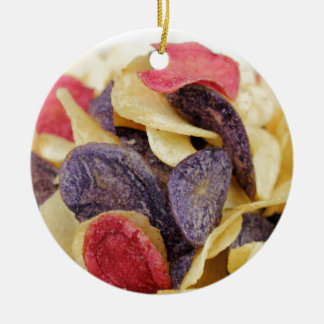 Bowl of Mixed Potato Chips Close-Up Round Ceramic Ornament