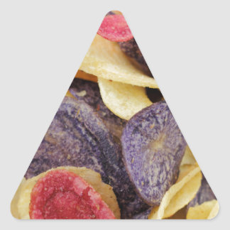 Bowl of Mixed Potato Chips Close-Up Triangle Sticker