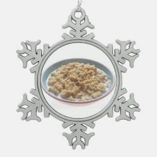 Bowl of Oatmeal Snowflake Pewter Christmas Ornament
