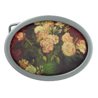Bowl of Peonies and Rose,Vincent van Gogh Oval Belt Buckles