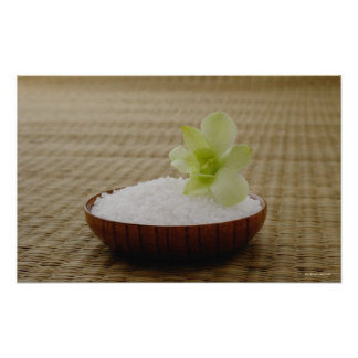 Bowl of rice with a flower on a tatami mat poster