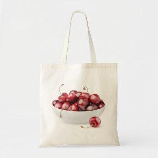 Bowl of sweet cherries tote bag