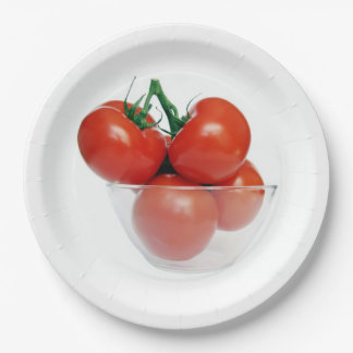 bowl of tomatoes paper plate