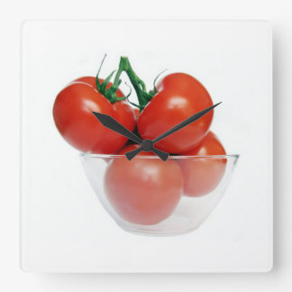bowl of tomatoes square wall clock