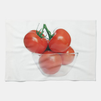 bowl of tomatoes towels
