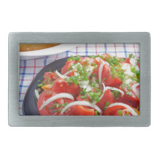 bowl of vegetarian salad rectangular belt buckle