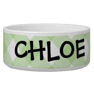 Bowl - Spring Green Latticed Checkerboard Zinnia Dog Bowls