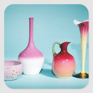 Bowl, Vases and Jug, late 19th century Square Sticker