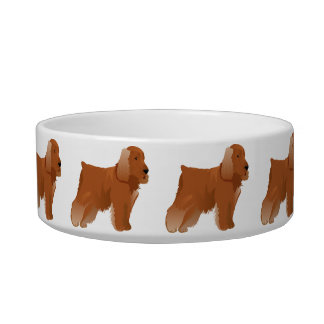Bowl with american cocker spaniel