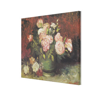 Bowl with Peonies and Roses by Vincent van Gogh Canvas Print
