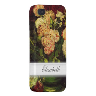 Bowl with Peonies and Roses, Vincent van Gogh. iPhone 4 Cases