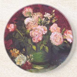 Bowl with Peonies & Roses Van Gogh Fine Art Coaster