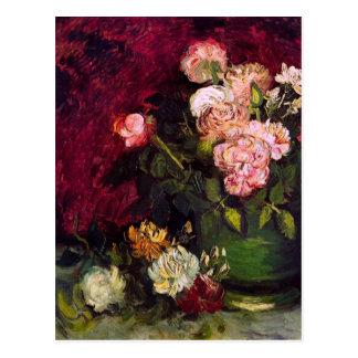 Bowl with Peonies & Roses Van Gogh Fine Art Postcard