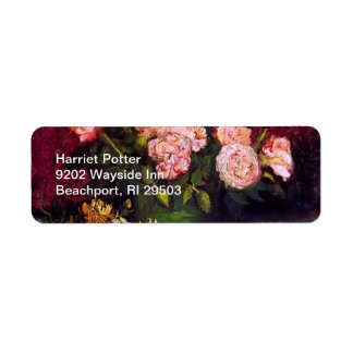 Bowl with Peonies & Roses Van Gogh Fine Art Return Address Label