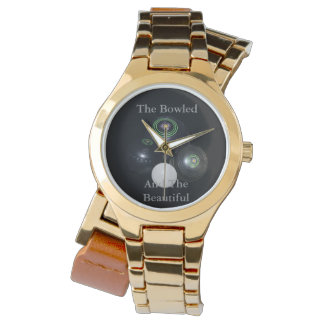 Bowled_And_Beautiful_Ladies_Gold_Lawn_Bowl_Watch Watch