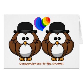 Bowler Hat Owls Gay Pride Wedding Card for Grooms
