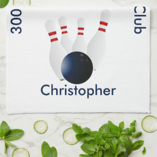 Bowling 300 Club Personalized Kitchen Towel
