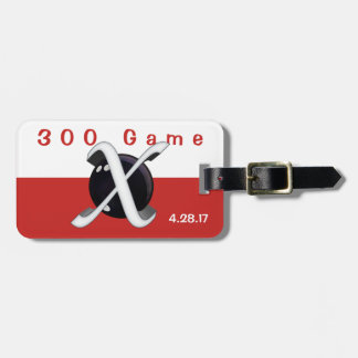 Bowling 300 Game Badge in Red & White Luggage Tag