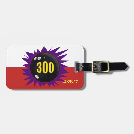 Bowling 300 Game Badge with 300 ball and purple Luggage Tag