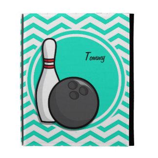 Bowling Aqua Green Chevron iPad Folio Covers