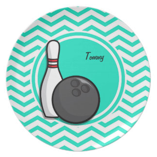 Bowling Aqua Green Chevron Plate