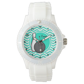 Bowling; Aqua Green Chevron Watch