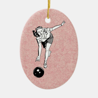 bowling babe ceramic ornament