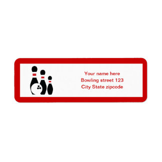 Bowling ball and pins black red custom return address label