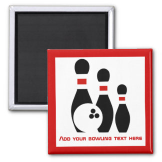 Bowling ball and pins personalized magnet