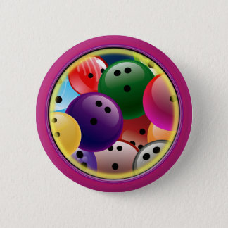 BOWLING BALL COLLAGE 2 INCH ROUND BUTTON