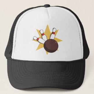 Bowling Ball Hitting Pins Trucker Hat