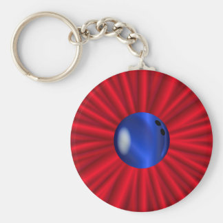 Bowling Ball Over Red Basic Round Button Keychain