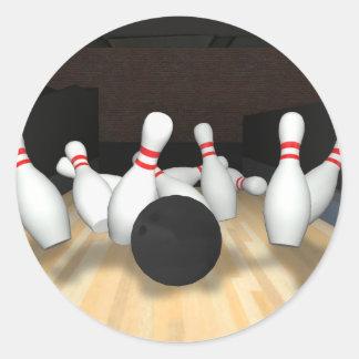 Bowling Ball & Pins: 3D Model: Round Sticker
