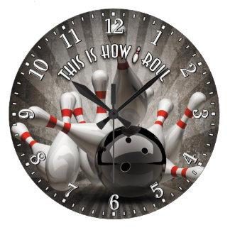Bowling Ball Pins Man Cave Wall Clock