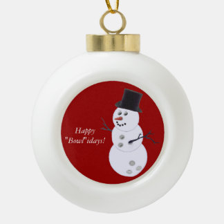 Bowling Ball Snowman Ceramic Ball Ornament